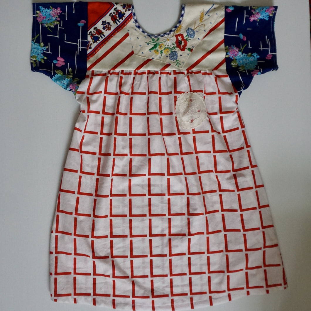Size Small Red and Blue Smock Dress