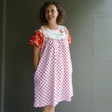 Load image into Gallery viewer, Size Medium Red Patchwork Smock Dress