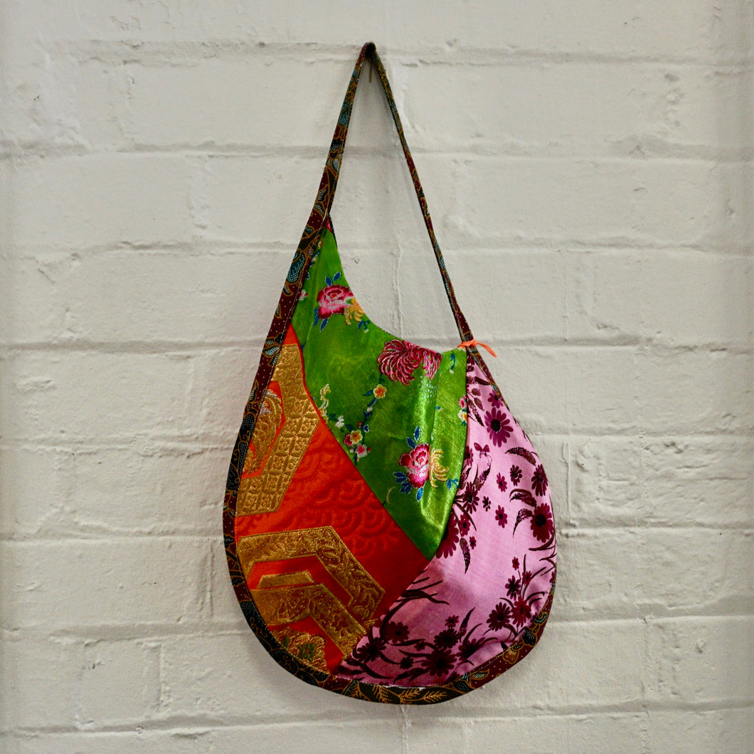 Red and Green Silk Saddle Bag
