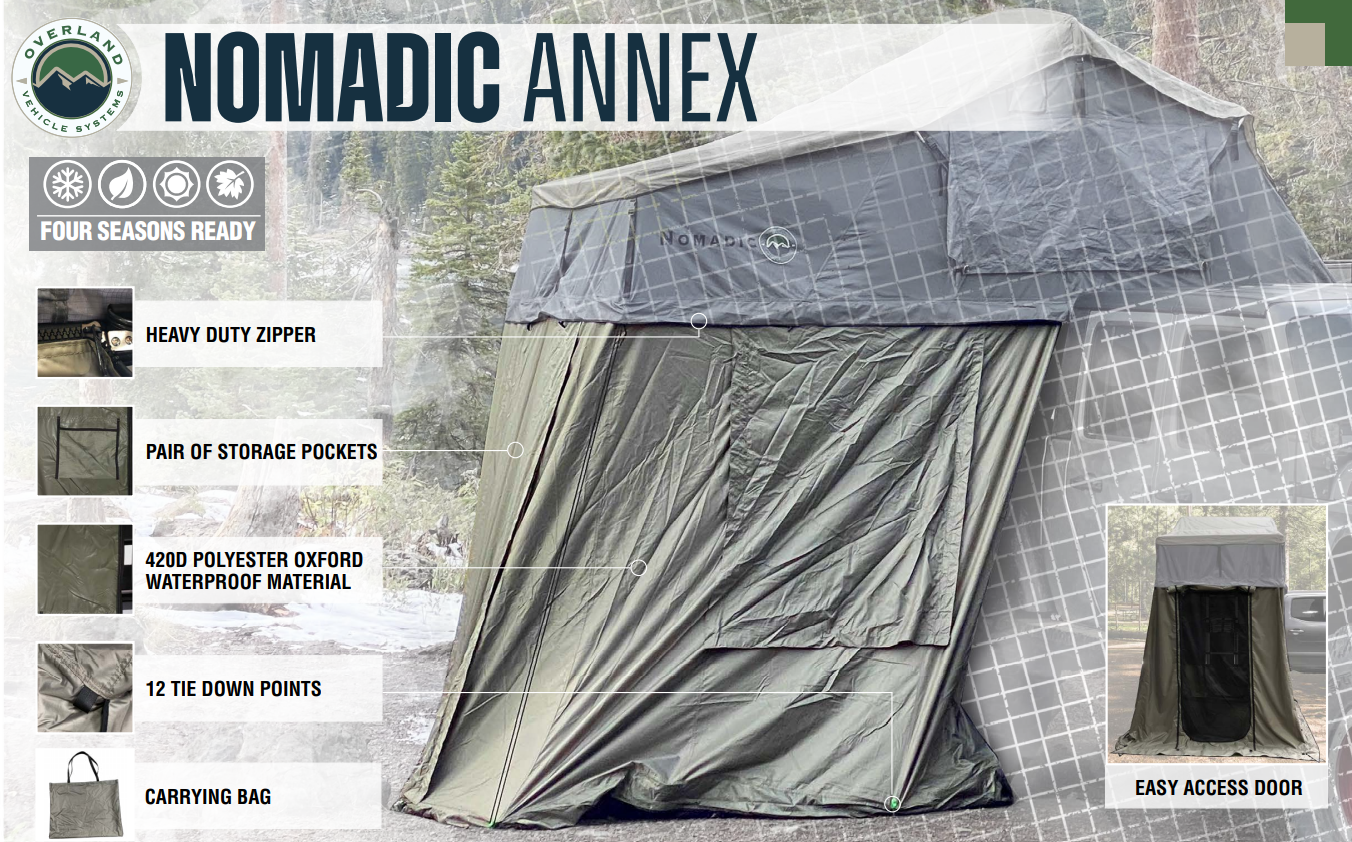 overland vehicle systems nomadic 4 roof top tent annex