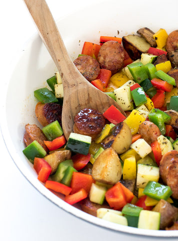 One Pan Sausage and Vegetable Skillet Recipe Image