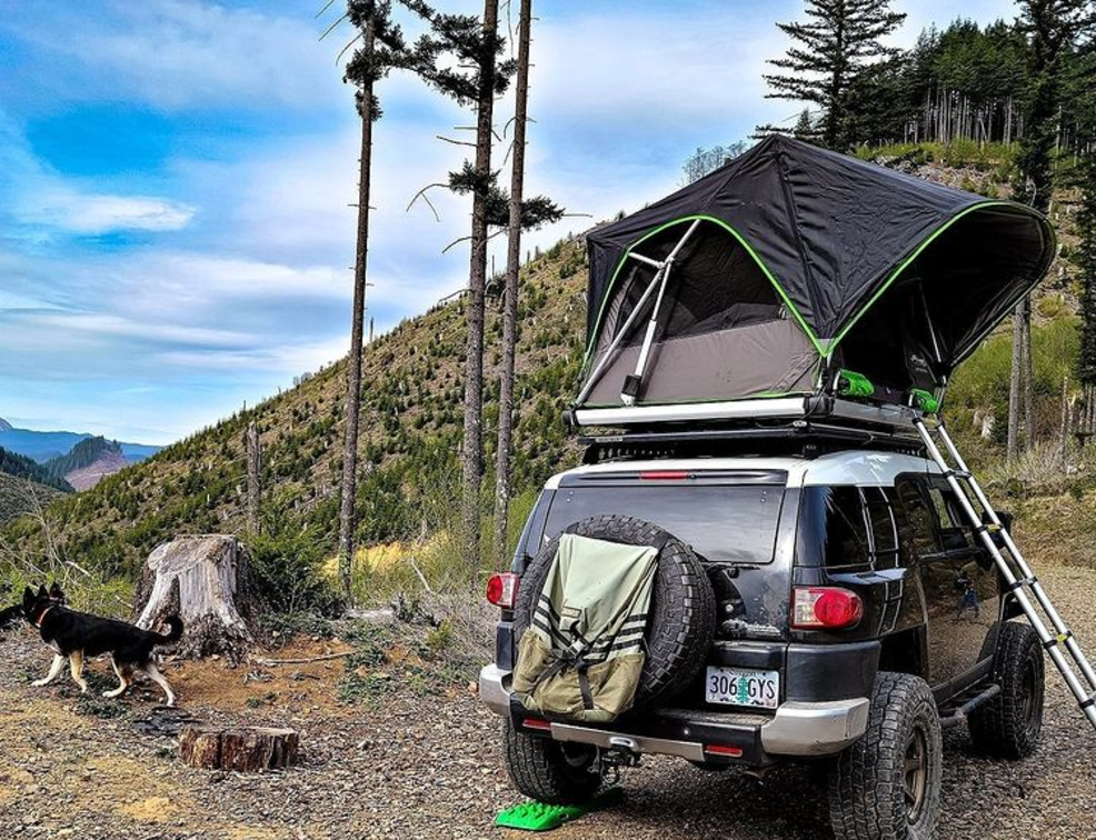 FSR Adventure Manual 55 Roof Top Tent Lifestyle Image with Pet