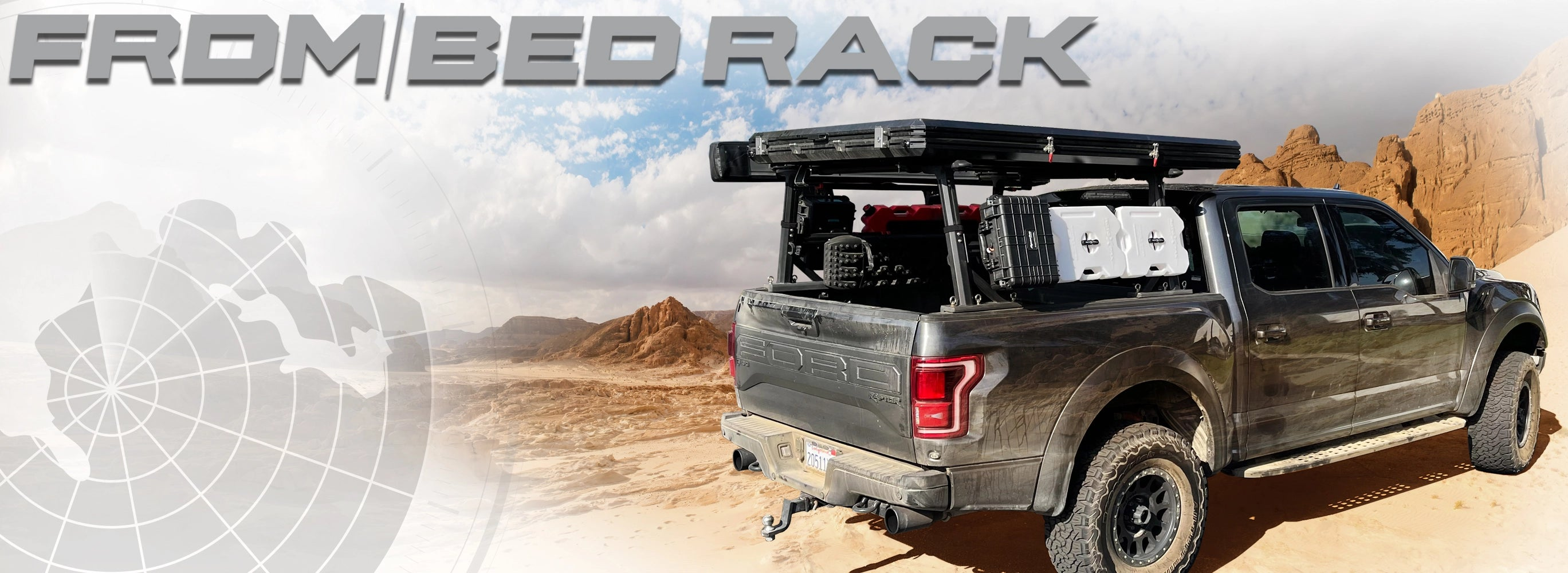 overland vehicle systems freedom bed rack mounted on a ford truck