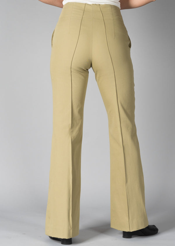 UN/BALANCE STRETCH PINTUCK FLARE PANTS KHAKI
