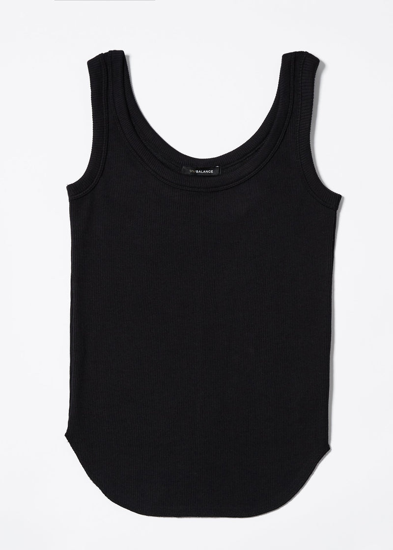 UN/BALANCE SOFT COTTON RIB TANK TOP BLACK