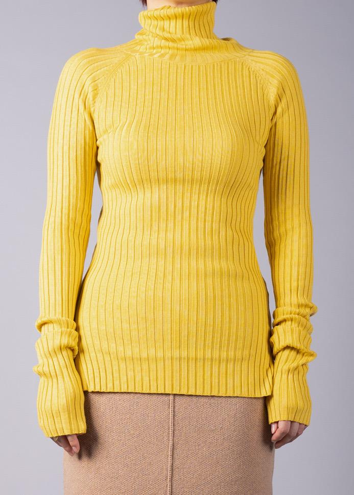 UN/BALANCE ECO CUWOOL 18C KNIT WIDE RIB PULLOVER YELLOW