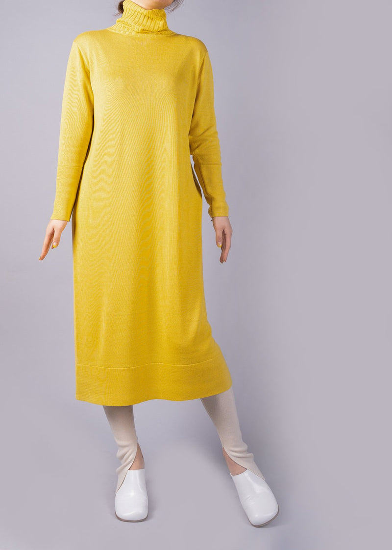 UN/BALANCE ECO CUWOOL 18C  KNIT DRESS YELLOW