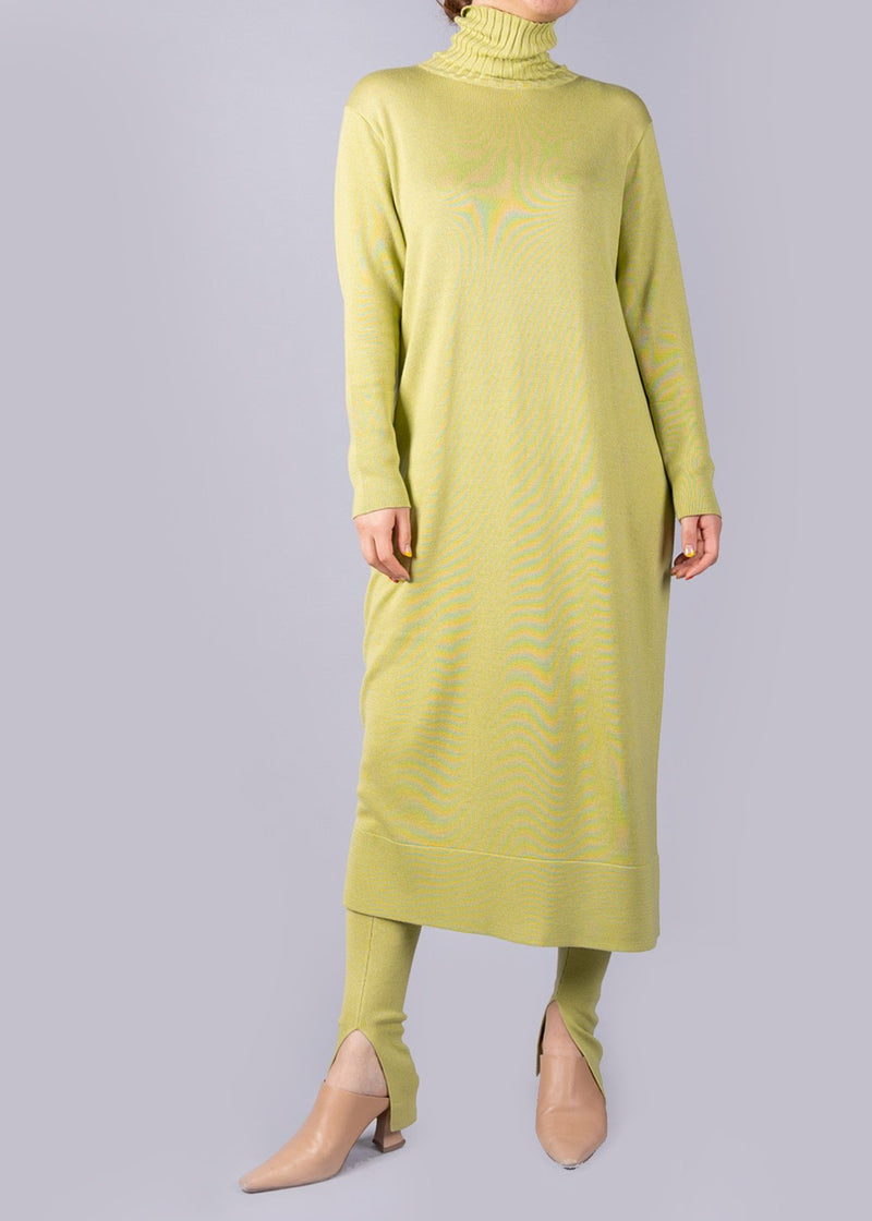 UN/BALANCE ECO CUWOOL 18C  KNIT DRESS LIME
