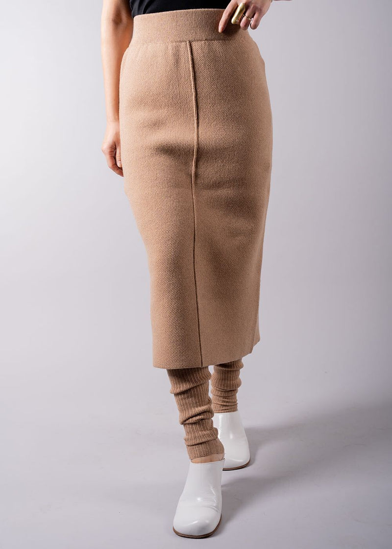 UN/BALANCE COTTON GEELONG LAMBS LONG SKIRT CAMEL