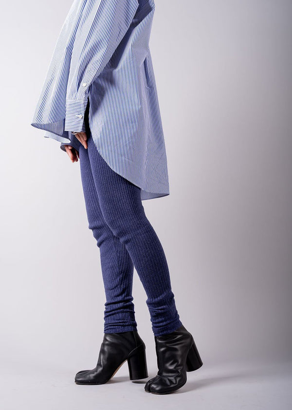UN/BALANCE COTTON GEELONG LAMBS RIB SLIM PANTS BLUE