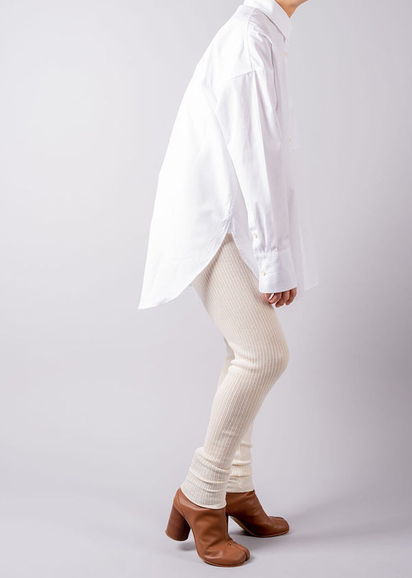 UN/BALANCE COTTON GEELONG LAMBS RIB SLIM PANTS IVORY