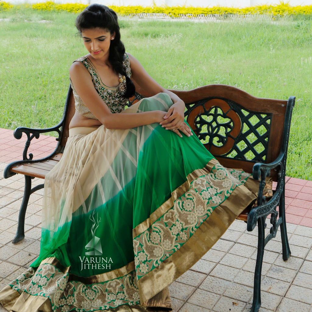 Green and Beige lehenga