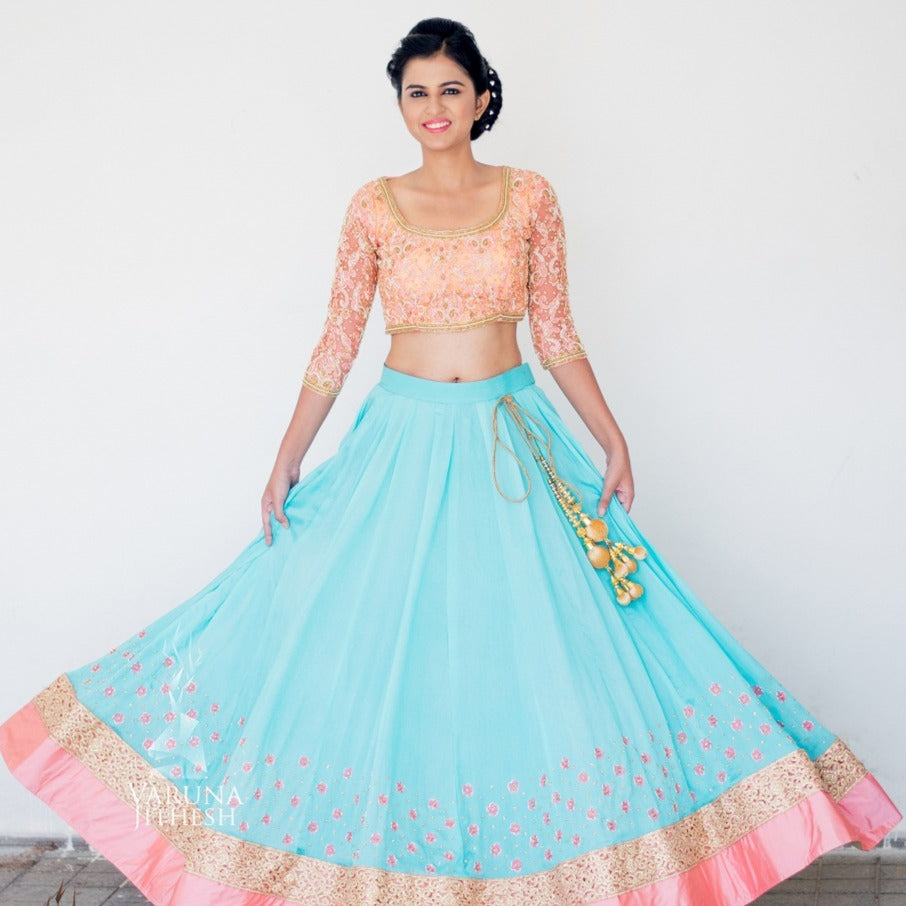 light blue peach lehenga