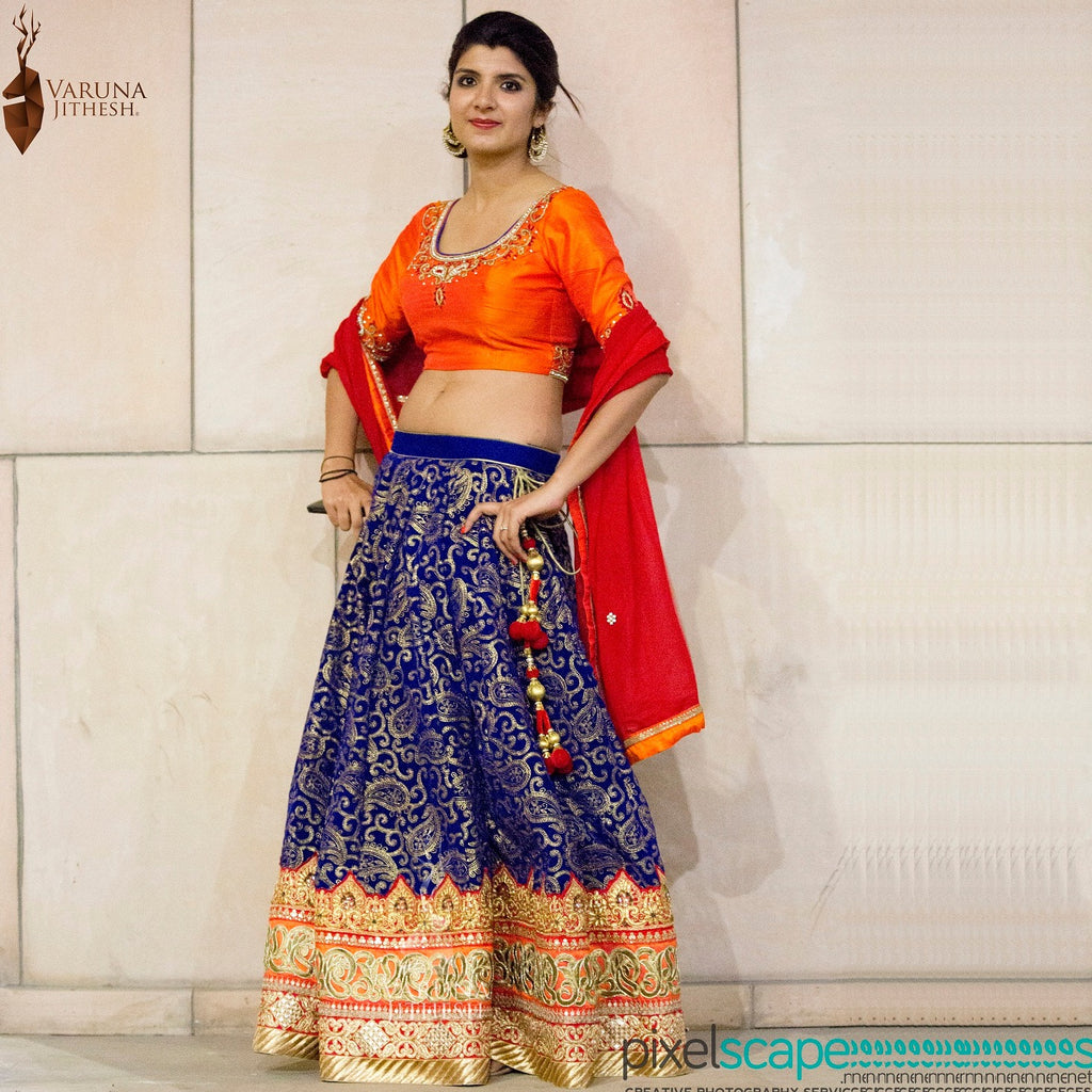 Orange dark blue lehenga
