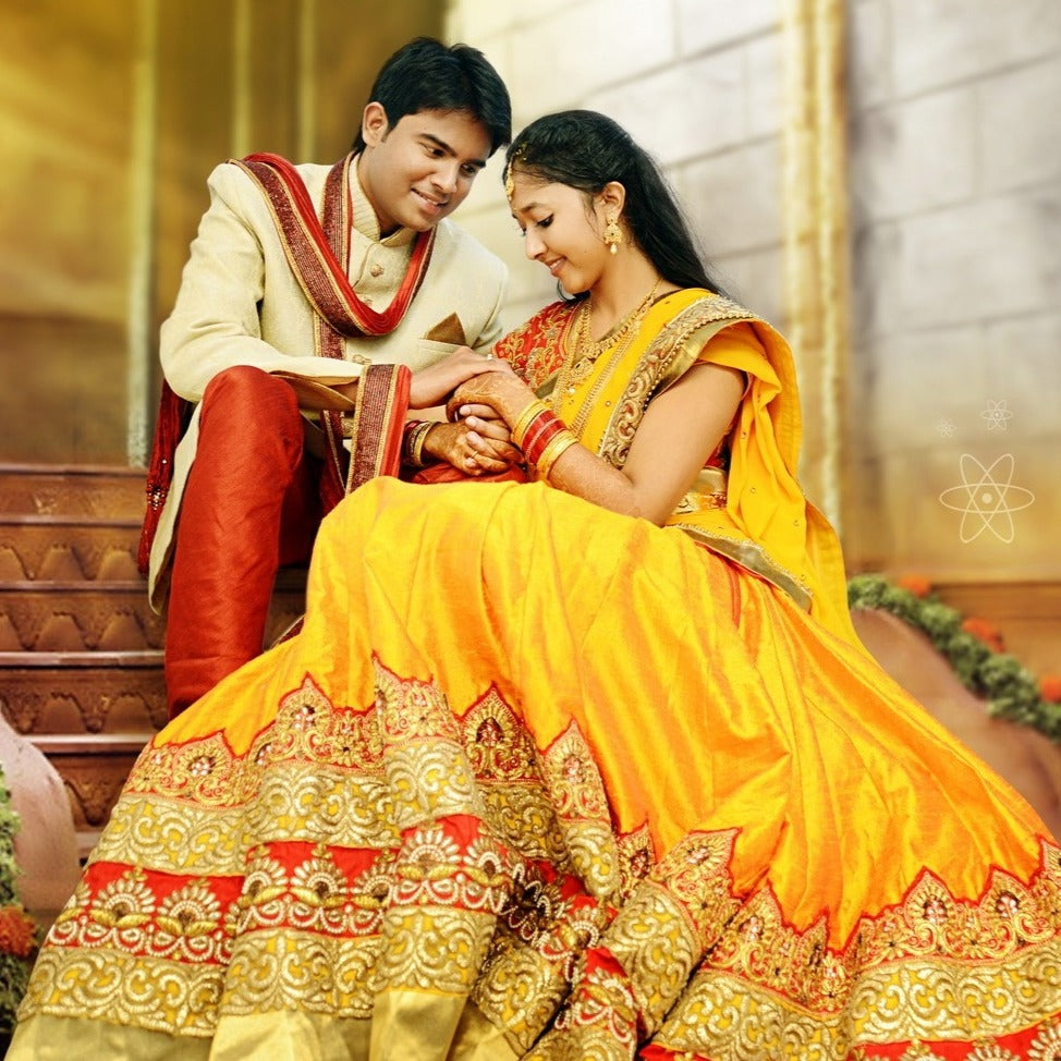 Yellow Red Lehenga