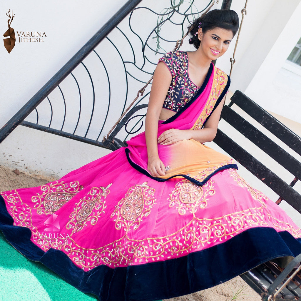 pink and dark blue lehenga
