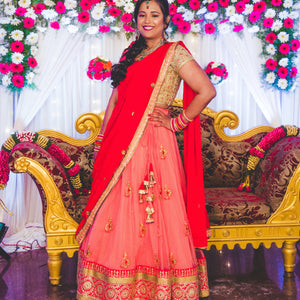 Peach red gold Lehenga