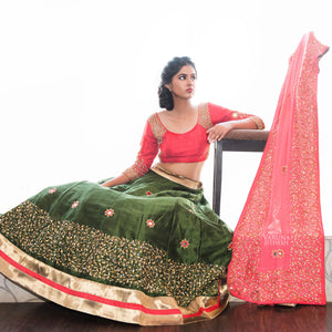 bottle green and red lehenga