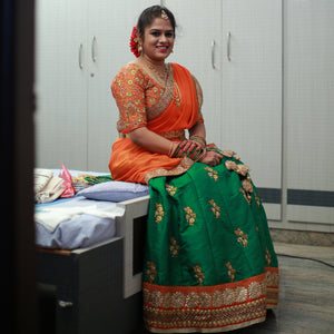 Green orange lehenga