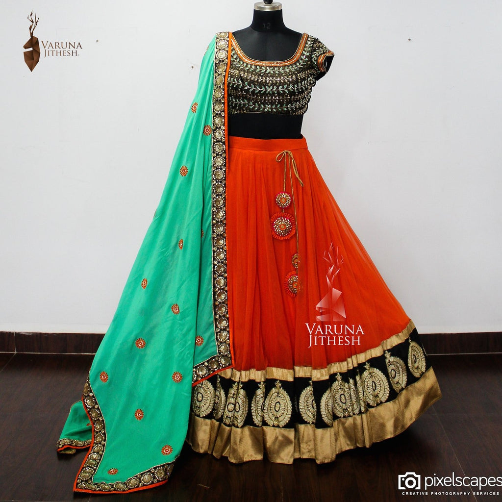 orange green lehenga