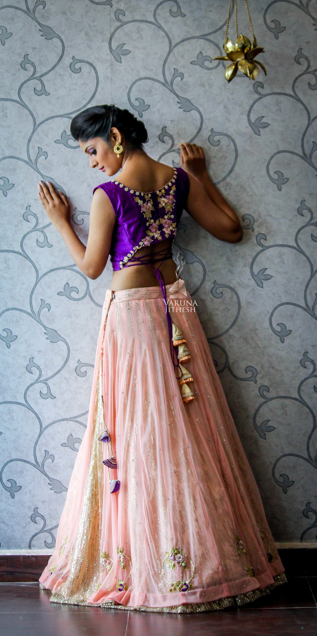 Violet light peach Lehenga