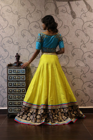 Yellow Blue Lehenga