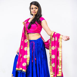 Red blue lehenga