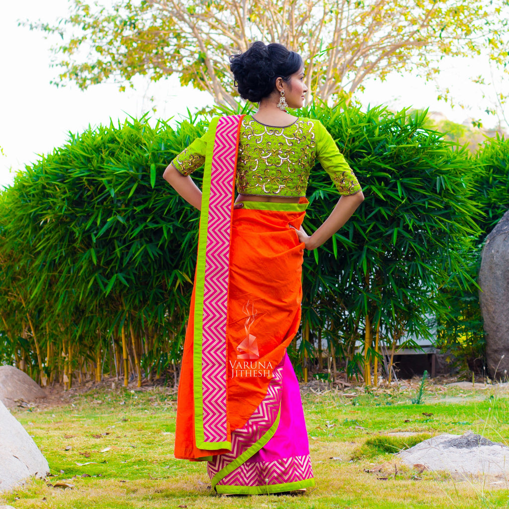Fluorescent green and pink saree