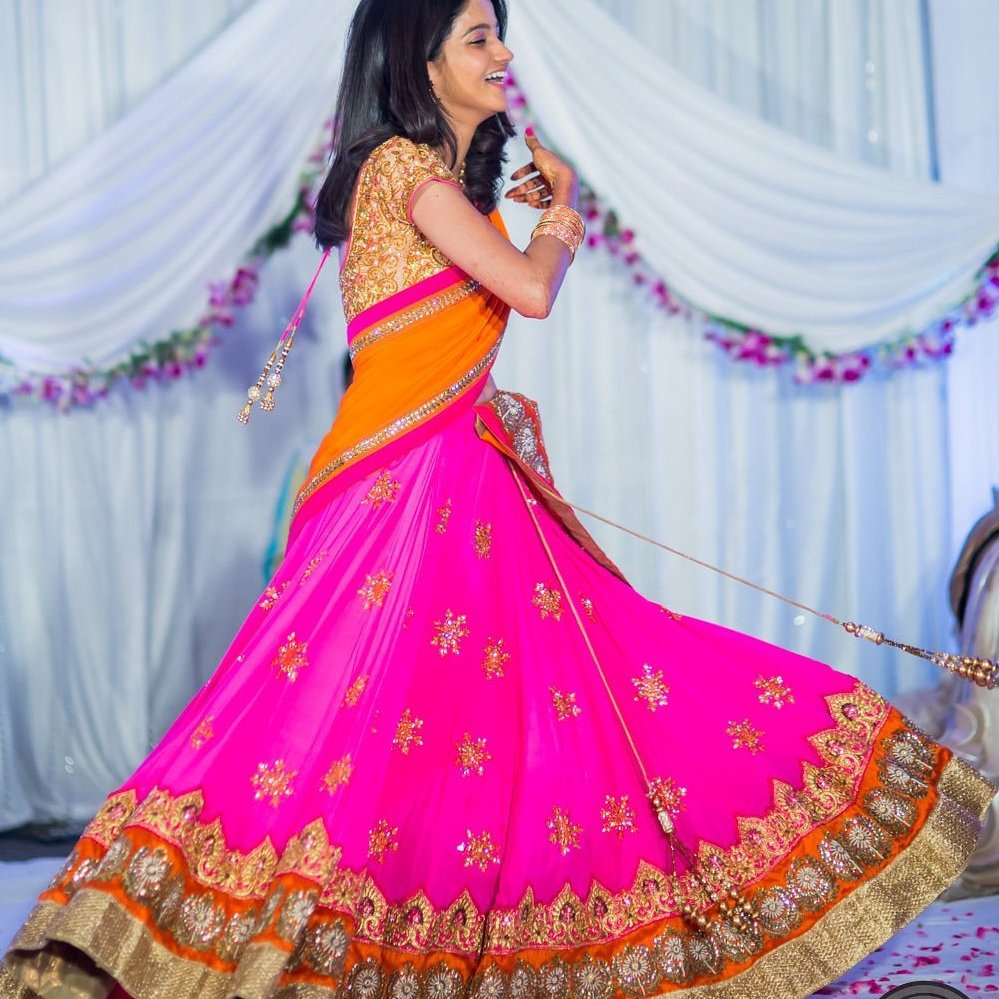Red orange lehenga