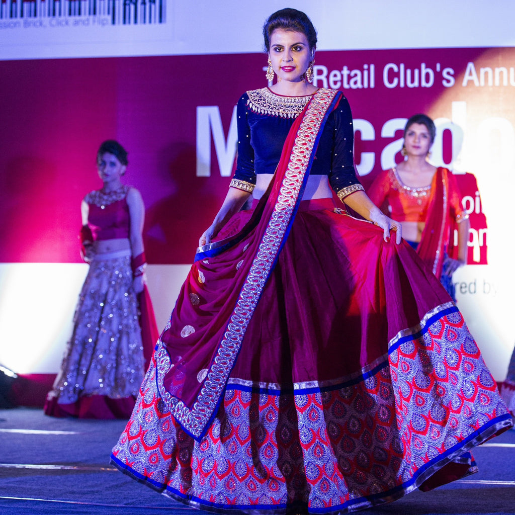 dark blue and red lehenga