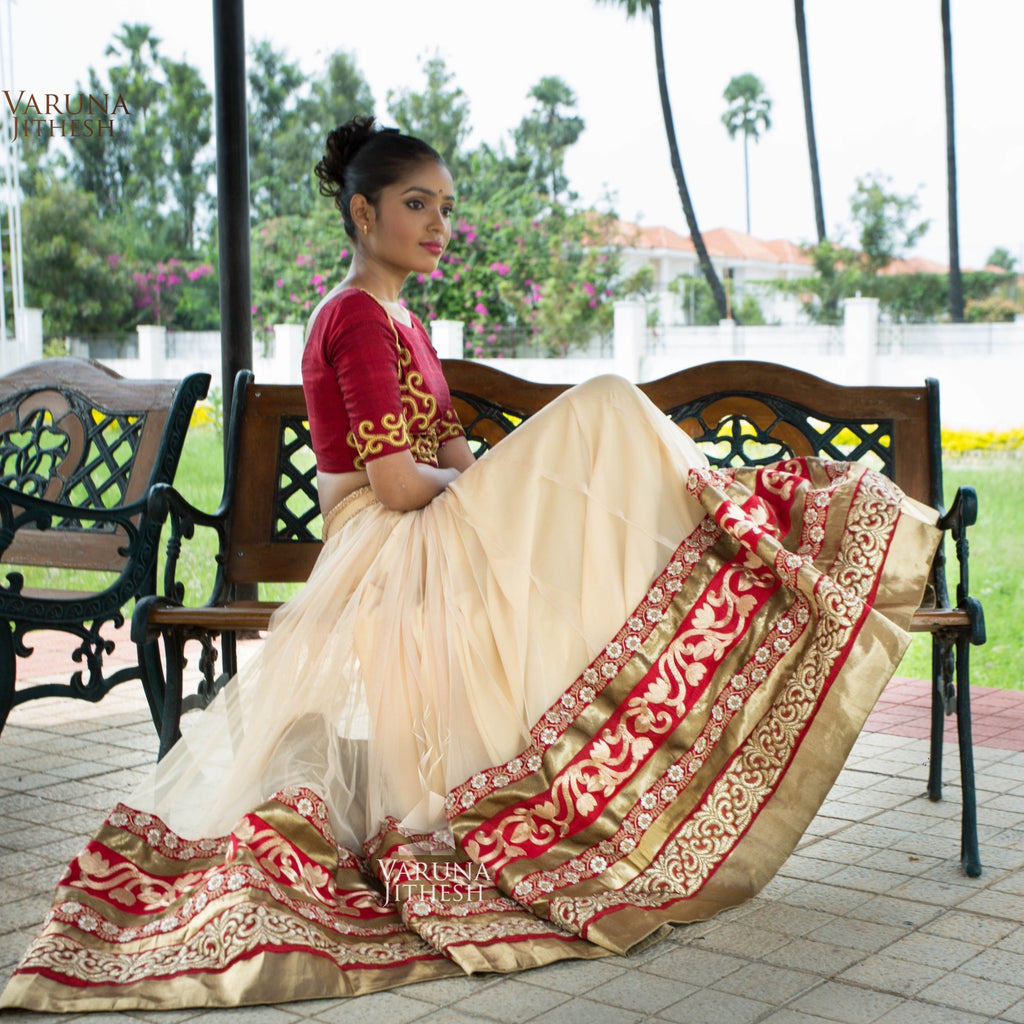 Red and Beige Lehenga