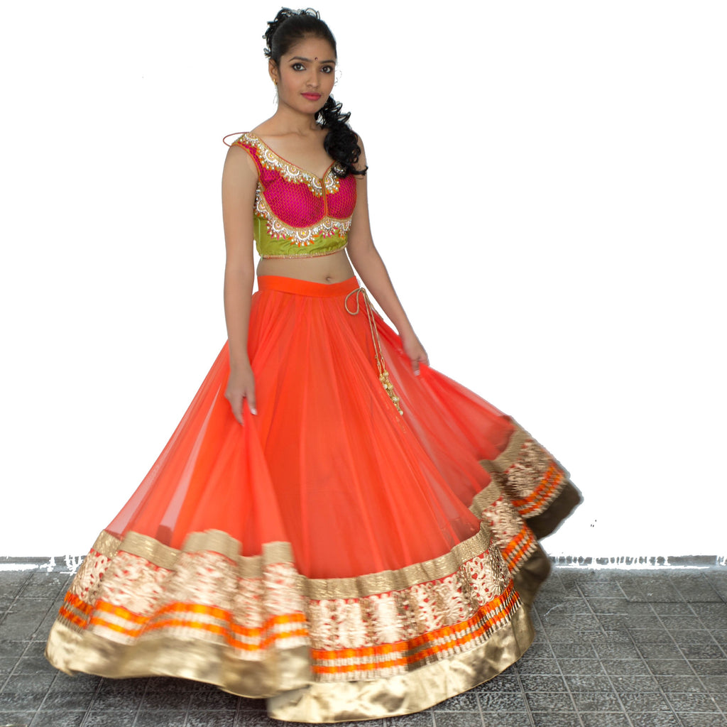 Orange,Red and Green Lehenga