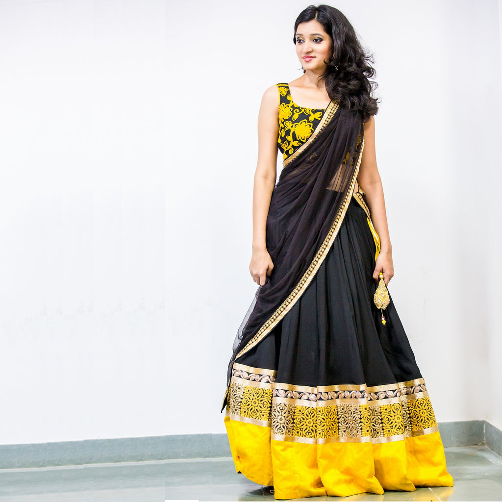 yellow black lehenga