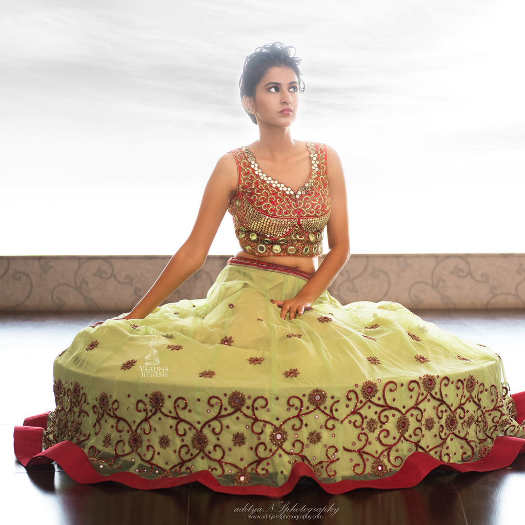 light green red lehenga