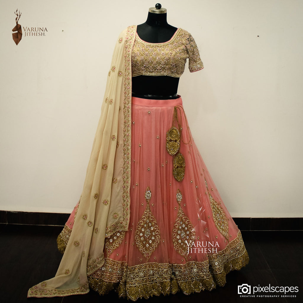 Peach and Beige lehenga