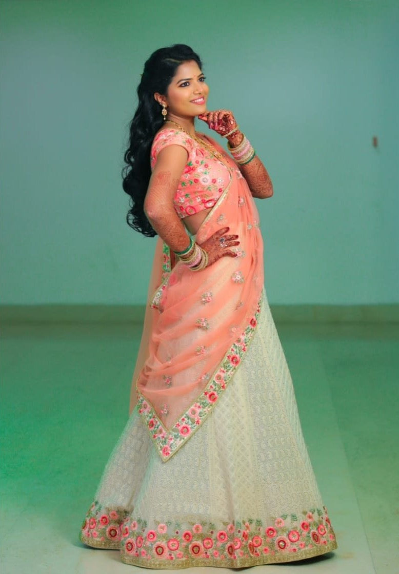 Light blue and light pink lehenga