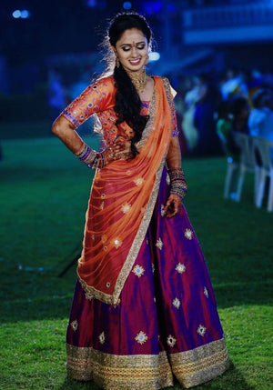 Purple orange lehenga