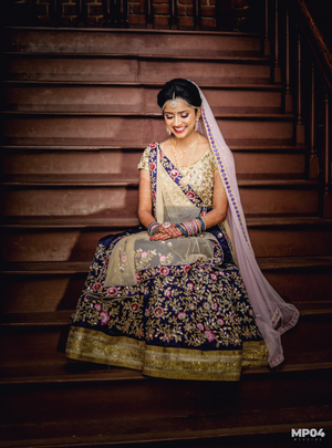 Blue and gold wedding lehenga
