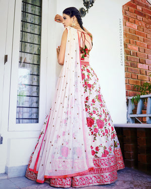 Floral green and beige lehenga