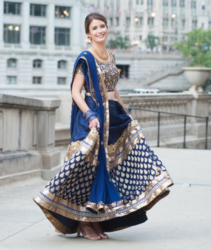 Blue wedding lehenga