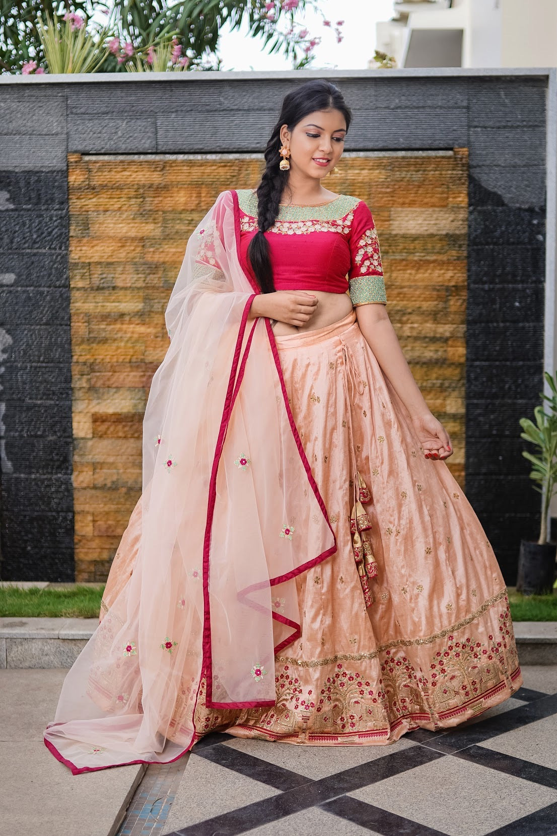 Red peach Lehenga