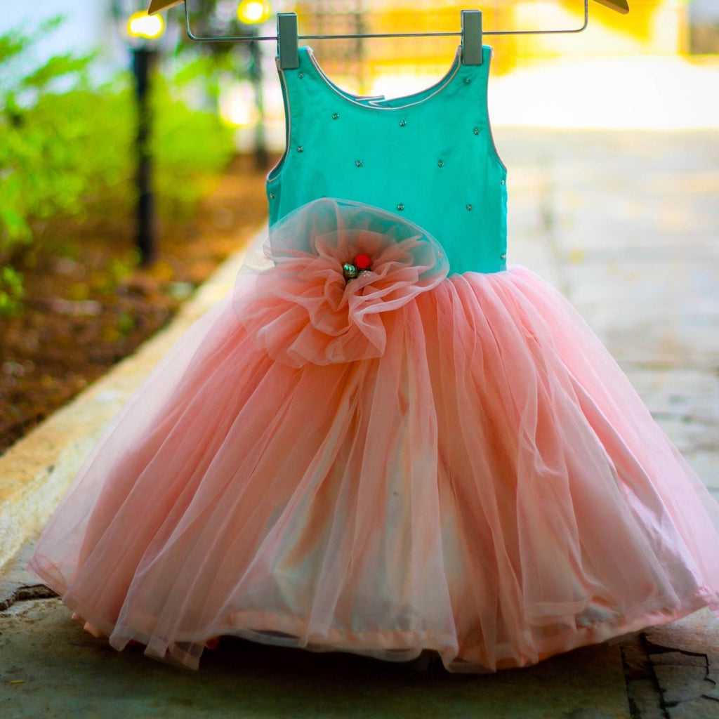 Peach sea green baby frock