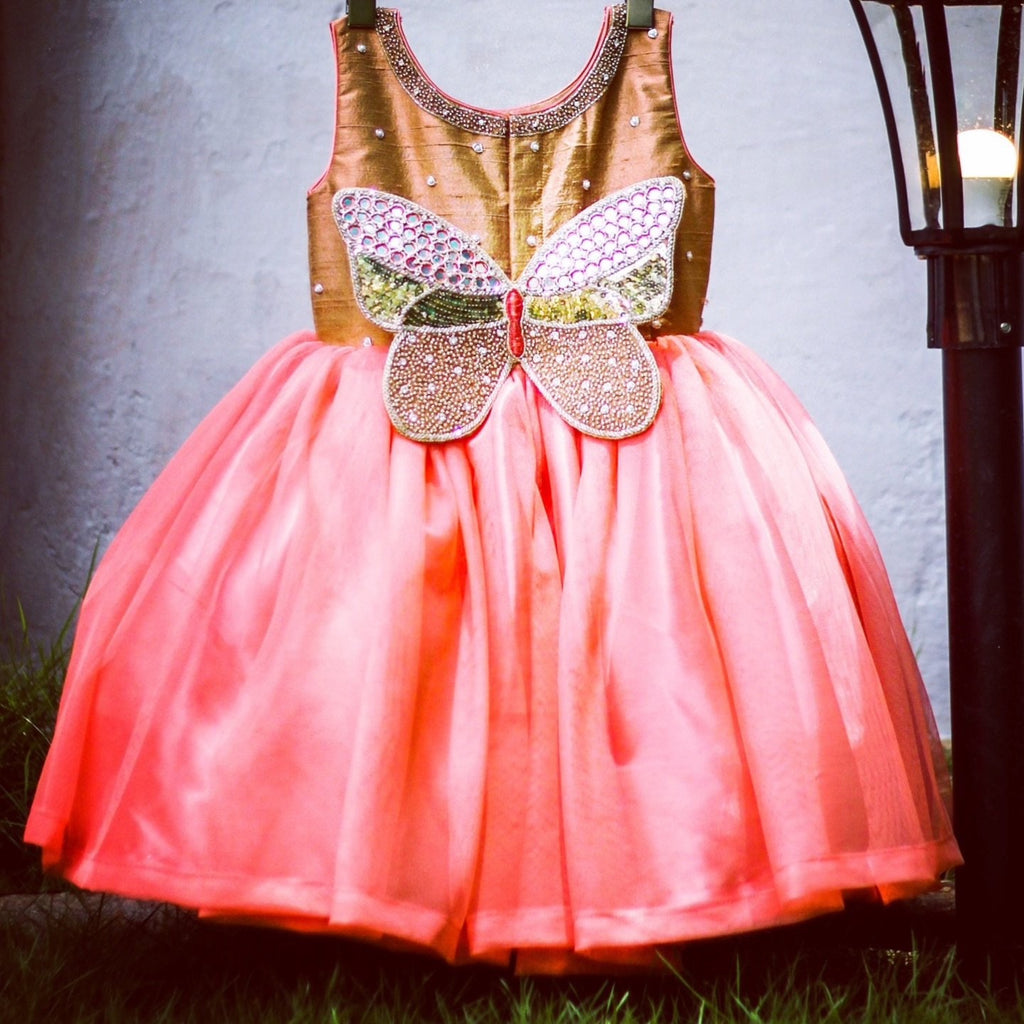 Peach gold embroidered butterfly frock