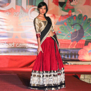 red black lehenga