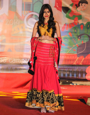 red gold lehenga