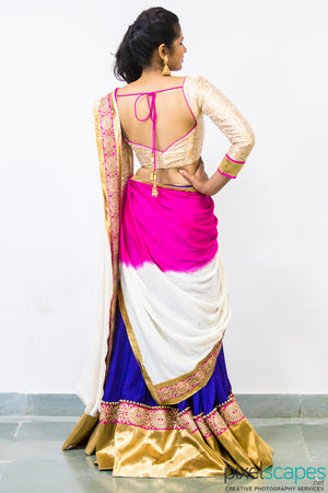 purple white lehenga