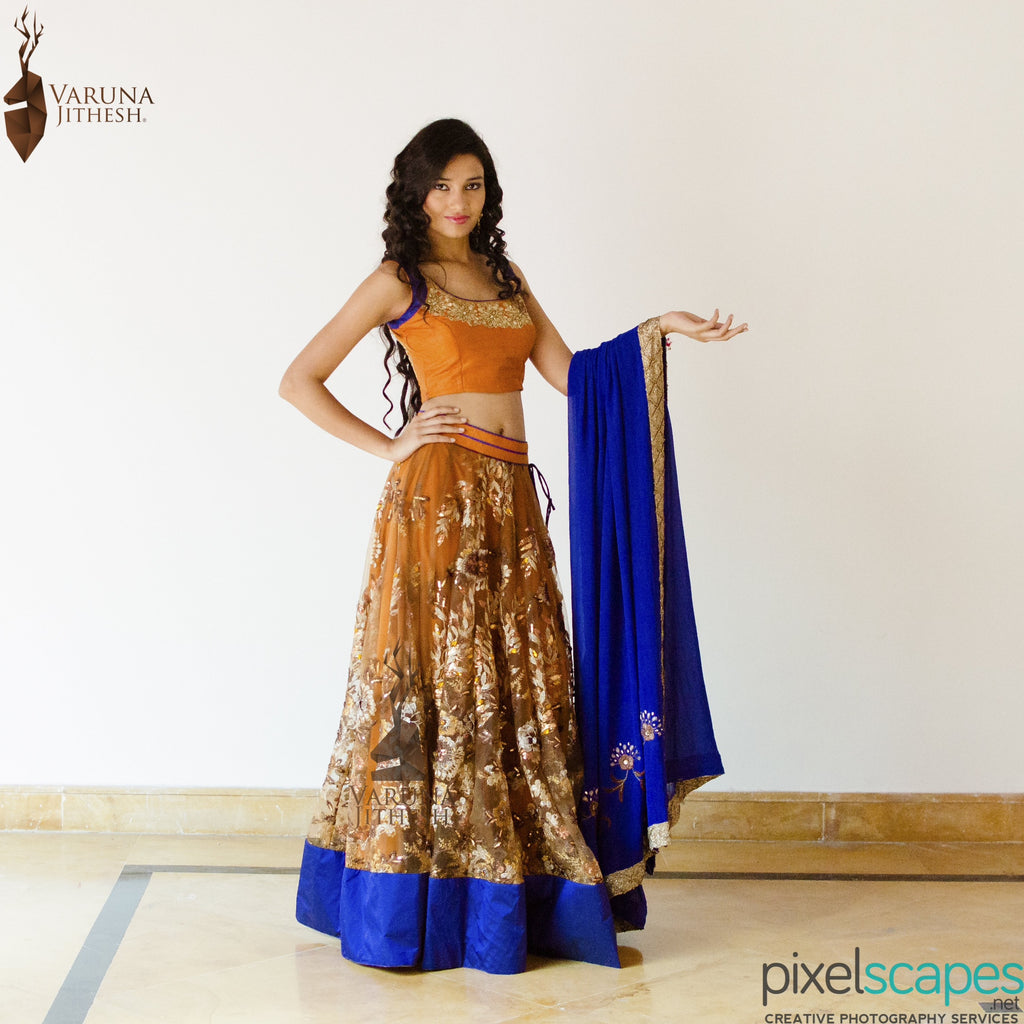 Brown blue lehenga
