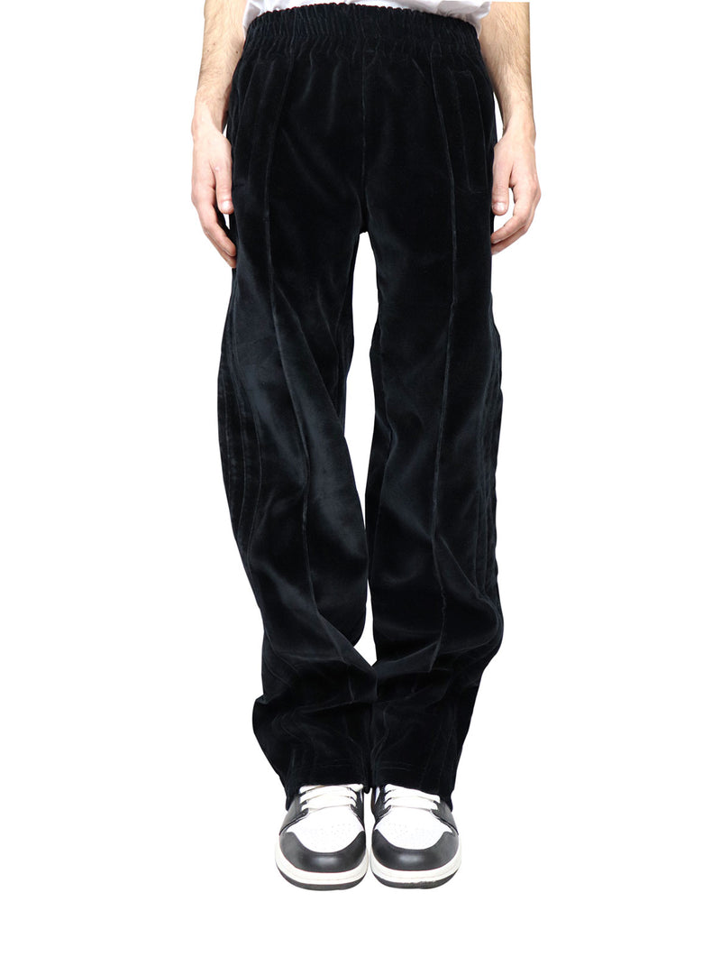 COAL BLACK VELVET TECHNICAL PANTS