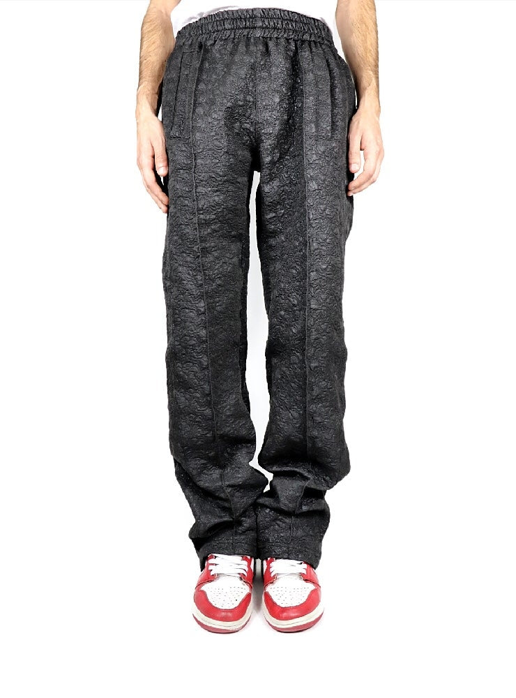 BLACK BROCADE TECHNICAL PANTS
