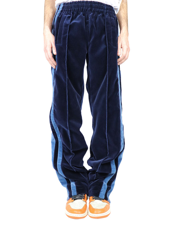 BLUE SHADES VELVET TECHNICAL PANTS